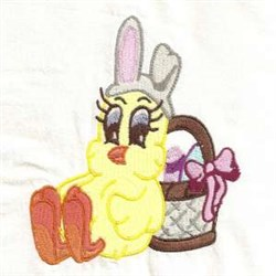 Easter Chick Egg Basket embroidery design