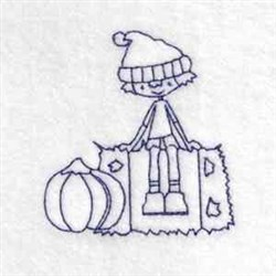 Boy Hay Outline embroidery design