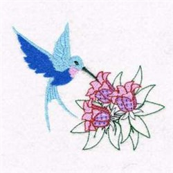 Floral Hummingbird embroidery design
