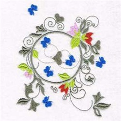 Butterfly Wreath embroidery design