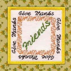 Thanksgiving Coaster Friends embroidery design