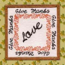 Thanksgiving Coaster Love embroidery design