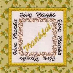 Thanksgiving Coaster Thankful embroidery design
