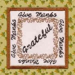Thanksgiving Coaster Grateful embroidery design