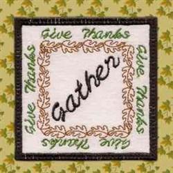 Thanksgiving Coaster Gather embroidery design