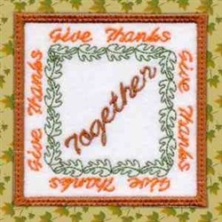 Thanksgiving Coaster Together embroidery design