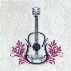Floral Guitar Outline embroidery design