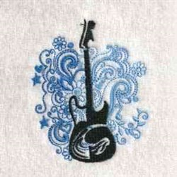 Floral Guitar embroidery design