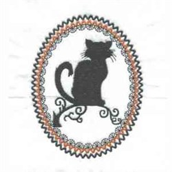 Oval Black Cat embroidery design