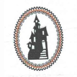 Haunted House Oval embroidery design