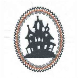 Halloween House Oval embroidery design