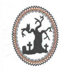 halloweensil_tree_frame embroidery design