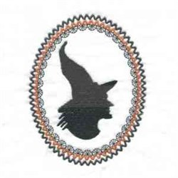 Witch Oval embroidery design
