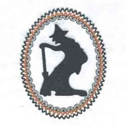 Oval Frame Witch embroidery design