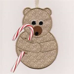 Candy Cane Bear embroidery design