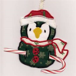 Candy Cane Penguin embroidery design