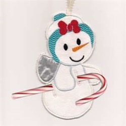 Candy Cane Snowangel embroidery design