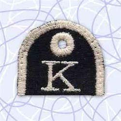 Alphabet Tag K embroidery design