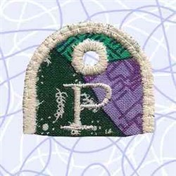 Alphabet Tag P embroidery design