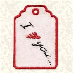 I Love You Tag embroidery design