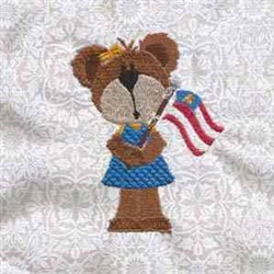 Memorial Day Bear embroidery design