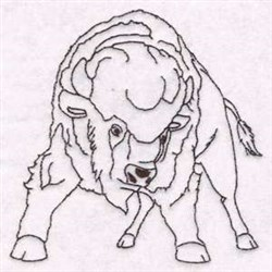 Blackwork Buffalo embroidery design