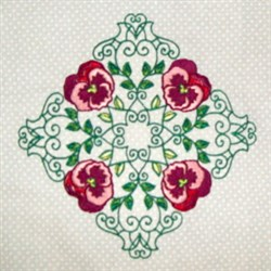 Pansy Block embroidery design