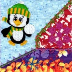 Penguin Quilt embroidery design