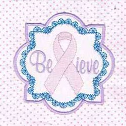 Believe Cancer Ribbon embroidery design