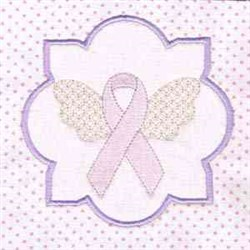 Pink Winged Ribbon Block embroidery design