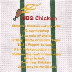 Bbq Chicken Recipe Towel embroidery design