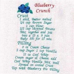 Blueberry Cruch Recipe Towel embroidery design