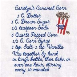 Caramel Corn Recipe Towel embroidery design