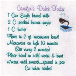 Dulce Fudge Recipe Towel embroidery design