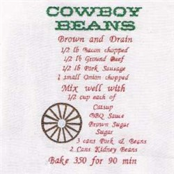 Cowboy Beans Recipe Towel embroidery design