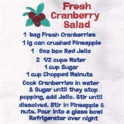 Cranberry Salad Recipe Towel embroidery design