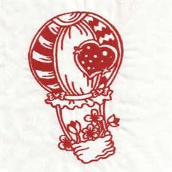Redwork Hot Air Balloon embroidery design