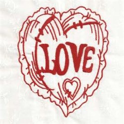 Redwork Valentine Heart embroidery design