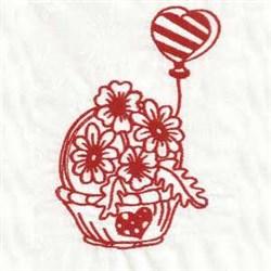 Redwork Valentine Basket embroidery design
