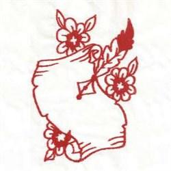 Redwork Valentine Scroll embroidery design