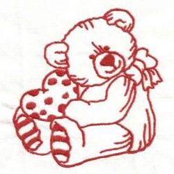 Redwork Valentine Teddy embroidery design