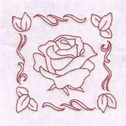 Spring Rose Redwork embroidery design