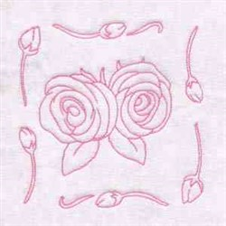 Spring Rose Block embroidery design