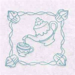 Tea Time Block embroidery design