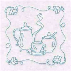 Tea Time Block embroidery design