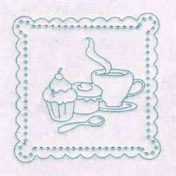Tea Time Outline embroidery design
