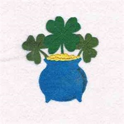 Shamrock In Gold Pot embroidery design