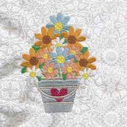 Floral Bucket embroidery design