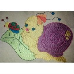 Snail  On Leaf embroidery design