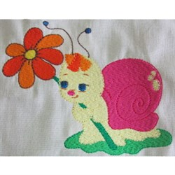 Snail With Flower embroidery design